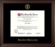 Stanford University Diploma Frame - Gold Embossed Diploma Frame in Studio