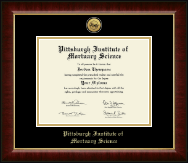 Pittsburgh Institute of Mortuary Science Diploma Frame - Gold Engraved Medallion Diploma Frame in Murano