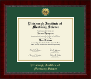 Pittsburgh Institute of Mortuary Science Diploma Frame - Gold Engraved Medallion Diploma Frame in Sutton