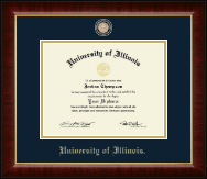 University of Illinois Diploma Frame - Brass Masterpiece Medallion Diploma Frame in Murano