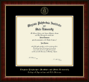 Virginia Tech Diploma Frame - Gold Embossed Diploma Frame in Murano
