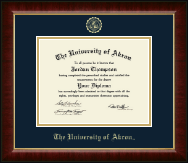 The University of Akron Diploma Frame - Gold Embossed Diploma Frame in Murano