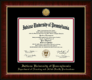 Indiana University of Pennsylvania Diploma Frame - Nursing Gold Engraved Medallion Diploma Frame in Murano