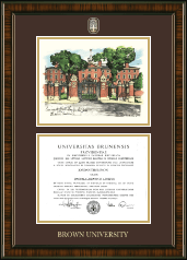 Brown University Diploma Frame - Campus Scene Masterpiece Medallion Diploma Frame in Brentwood