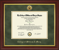 William & Mary Diploma Frame - Gold Engraved Medallion Diploma Frame in Redding
