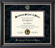 Manhattan School of Music Diploma Frame - Gold Embossed Diploma Frame in Noir