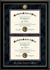 Manhattan School of Music Diploma Frame - 23K Double Diploma Frame in Onyx Gold