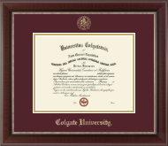 Colgate University Diploma Frame - Gold Embossed Diploma Frame in Chateau