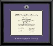 Middle Georgia State University Diploma Frame - Silver Engraved Medallion Diploma Frame in Onyx Silver