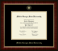 Middle Georgia State University Diploma Frame - Gold Embossed Diploma Frame in Murano
