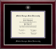 Middle Georgia State University Diploma Frame - Silver Embossed Diploma Frame in Gallery Silver