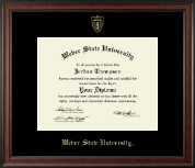 Weber State University Diploma Frame - Gold Embossed Diploma Frame in Studio