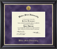 Weber State University Diploma Frame - Gold Engraved Medallion Diploma Frame in Noir