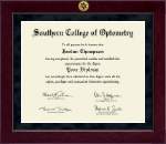 Southern College of Optometry Diploma Frame - Millennium Gold Engraved Diploma Frame in Cordova