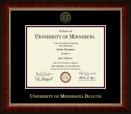 University of Minnesota Duluth Diploma Frame - Gold Embossed Diploma Frame in Murano