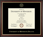 University of Minnesota Duluth Diploma Frame - Gold Embossed Diploma Frame in Studio Gold