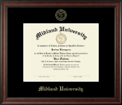 Midland University Diploma Frame - Gold Embossed Diploma Frame in Studio
