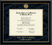 Icahn School of Medicine at Mount Sinai Diploma Frame - Gold Engraved Medallion Diploma Frame in Onyx Gold