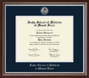 Icahn School of Medicine at Mount Sinai Diploma Frame - Silver Engraved Medallion Diploma Frame in Devonshire