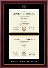 University of Minnesota Duluth Diploma Frame - Double Diploma Frame in Gallery