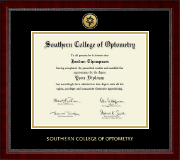 Southern College of Optometry Diploma Frame - Gold Engraved Medallion Diploma Frame in Sutton