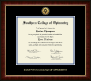 Southern College of Optometry Diploma Frame - Gold Engraved Medallion Diploma Frame in Murano