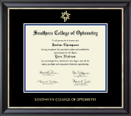 Southern College of Optometry Diploma Frame - Gold Embossed Diploma Frame in Noir