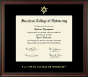Southern College of Optometry Diploma Frame - Gold Embossed Diploma Frame in Studio