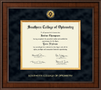 Southern College of Optometry Diploma Frame - Presidential Gold Engraved Diploma Frame in Madison