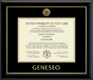 State University of New York Geneseo Diploma Frame - Gold Engraved Medallion Diploma Frame in Onyx Gold