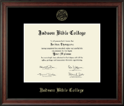 Judson Bible College Diploma Frame - Gold Embossed Diploma Frame in Studio