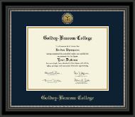Goldey-Beacom College Diploma Frame - Gold Engraved Medallion Diploma Frame in Noir