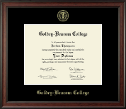 Goldey-Beacom College Diploma Frame - Gold Embossed Diploma Frame in Studio