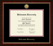 Bellarmine University Diploma Frame - Gold Engraved Medallion Diploma Frame in Murano