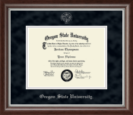 Oregon State University Diploma Frame - Silver Embossed Diploma Frame in Devonshire