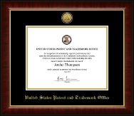 US Patent and Trademark Office Certificate Frame - Gold Engraved Medallion Certificate Frame in Murano