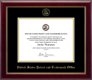 US Patent and Trademark Office Certificate Frame - Gold Embossed Certificate Frame in Gallery