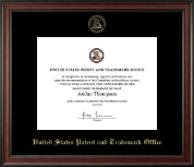 US Patent and Trademark Office Certificate Frame - Gold Embossed Certificate Frame in Studio