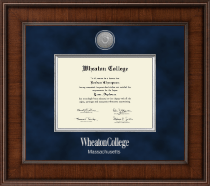 Wheaton College in Massachusetts Diploma Frame - Presidential Silver Engraved Diploma Frame in Madison