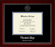 Wheaton College in Massachusetts Diploma Frame - Silver Embossed Diploma Frame in Sutton