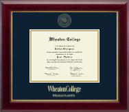 Wheaton College in Massachusetts Diploma Frame - Gold Embossed Diploma Frame in Gallery