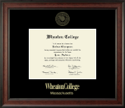 Wheaton College in Massachusetts Diploma Frame - Gold Embossed Diploma Frame in Studio