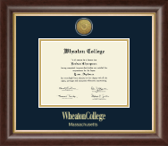 Wheaton College in Massachusetts Diploma Frame - Gold Engraved Medallion Diploma Frame in Hampshire