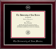 The University of New Mexico Diploma Frame - Silver Embossed Diploma Frame in Gallery Silver