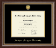 Northern Michigan University Diploma Frame - Gold Engraved Medallion Diploma Frame in Hampshire