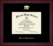 Masuk High School in Connecticut Diploma Frame - Gold Embossed Diploma Frame in Academy