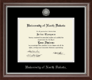University of North Dakota Diploma Frame - Silver Engraved Medallion Diploma Frame in Devonshire