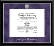 New York University Diploma Frame - Silver Medallion Diploma Frame in Onyx Silver