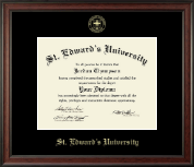 St. Edward's University Diploma Frame - Gold Embossed Diploma Frame in Studio