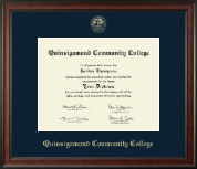 Quinsigamond Community College Diploma Frame - Gold Embossed Diploma Frame in Studio